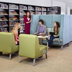The Bretford furniture company recently released the Library 2.0 line, which includes tables and chairs with power built in, for charging laptops or other devices. For example, the EXPLORE Teaming Table features a monitor on one end to which up to five students can connect their device and share content.
