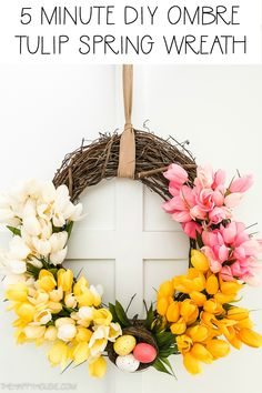 DIY Ombre Tulip Spring & Easter Wreath