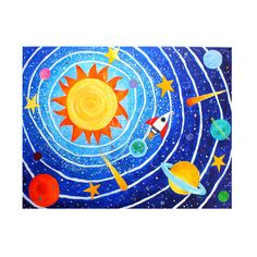 Solar System 7 Children's Room Art 24x18 Acrylic Canvas by nJoyArt