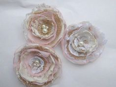Wedding Decorations Fabric Flowers Set of 3 by AfternoonDelite, $10.00
