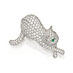 Platinum, Diamond and Emerald Brooch, Tiffany & Co. -