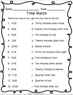 Telling Time {Worksheets and Game}