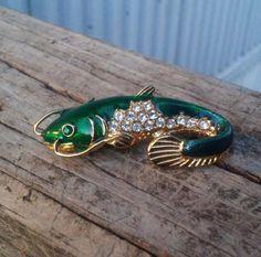 Stunning Gold Plated Rhinestone and Enamel Fish Pin / Brooch EUC #FishBrooch