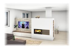 Tiled stove Modern style with view window and TV wallmodern 3d House Plans, Can Lights, Light Shades, Dark Colors, Future House, Stove, Loft, Windows, Star Earrings