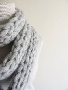 Extra Long Wool Mohair Thick Knit Scarf Winter by LedaDesign, $39.00