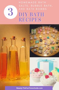 Simple DIY recipes and ingredients needed to make your own homemade bath soaks - soothing bath salts, fizzy bath bombs, and relaxing bubble bath! Bubble Bath Homemade, Homemade Bubbles, Galaxy Bath Bombs, Fizzy Bath Bombs, Diy Hanging Shelves, Bath Bomb Recipes, Mason Jar Lighting, Wine Bottle Crafts, Diy Home Decor Projects
