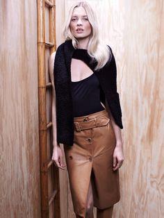 vogue.ru Cloak of wool with cotton and nylon, Sonia Rykiel; silk bodysuit, Chloé; leather skirt, Jason Wu; leather boots, Proenza Schouler