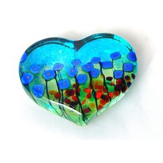 BLUE POPPY LARGE HEART PAPERWEIGHT from Side Street Studio