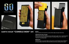 Earth Hour Candle Box - shows a building before and during earth hour