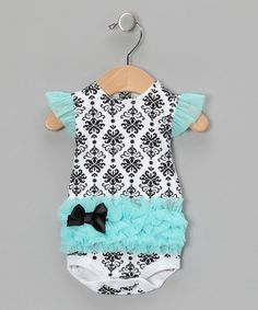 LOVE THIS!  Now somoene have another baby girl!  Take a look at this Turquoise Damask Tutu Bodysuit  by Vitamins Baby on  today!