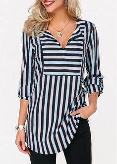 The pinks, blues and blacks on the Stripe Print Curved Hem Black Blouse make it perfect for work and a staple piece on a capsule wardrobe. Stylish Tops For Girls, Trendy Tops For Women, Blouses For Women, Women's Blouses, Royal Blue Blouse, Black Blouse, Black Curves, Ladies Dress Design, Blouse Designs