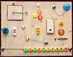 activity board for toddlers Sensory Wall, Sensory Boards, Baby Sensory, Sensory Activities, Preschool Activities, Autism Sensory, Diy Busy Board, Board For Kids, Games For Kids