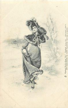 pretty woman carrying furled umbrella walks forward, skirt lifted in right hand, winter scene, muff