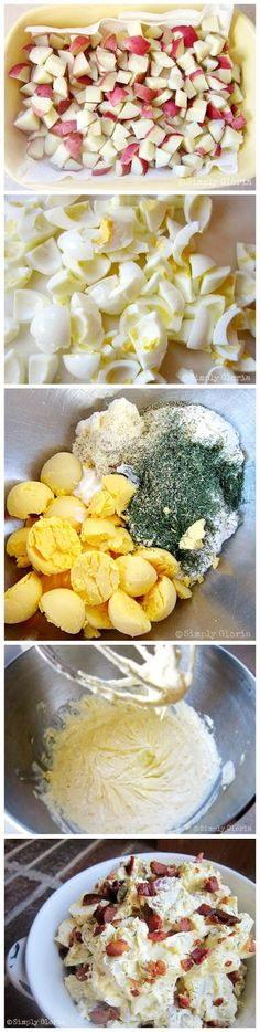 Creamy Potato Salad With Bacon 8-10 medium size red potatoes 10 eggs 1 pound bacon, chopped 1 and a ½ to 2 cups of mayo ¼ cup sour cream ¼ cup dill weed seasoning 2 teaspoon onion powder salt