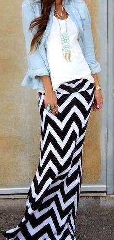 Black and white chevron maxi skirt