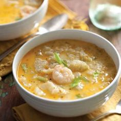 This creamy mirliton and shrimp soup is a holiday classic.