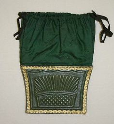 Reticules, or indespensibles, were purses. They had drawstrings so they could be worn around the wrist or on the arm and they were bright colors with patterns.