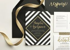 black and gold wedding invitations black and by DevonDesignCo