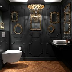 32 Small Bathroom Design Ideas for Every Taste - The Trending House Bad Inspiration, Bathroom Inspiration, Decoration Restaurant, Dark Interiors, Small Bathroom, Bathroom Black, Gothic Bathroom, Dark Bathrooms, Ensuite Bathrooms