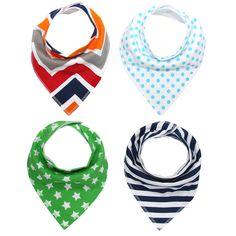 4Pcs/Lot Baby Bibs Colorful Print Cute Cotton Soft Bandana Saliva Towel Newborn Triangle Scarf Infant Burp Cloths