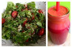 Jus et salade pour mon dîner.  Jus : betterave rouge, carotte, pomme, gingembre, curcuma. Salade : laitue, roquette, tomate cerise, chou fleur, graine de lin et courge.