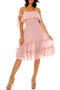 7f6af9b7663 Buy  Cancan  Ruffle Trim Chiffon Dress - Pink at Style Loft for only   39.99