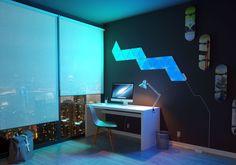 Nanoleaf's LED Aurora light panels add a splash of 'living paint' to your walls. Home Automation System, Smart Home Automation, Nanoleaf Designs, Nanoleaf Aurora, Nanoleaf Lights, Panel Led, Light Panel, Smart Lights, Diy Simple
