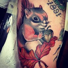 adorable squirrel tattoo by Frankie Caraccioli
