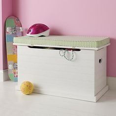 White Toy Chest from the Land of Nod a #mommy #splurge at $249.00