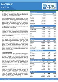 Epic research special report of 27 nov 2015  Epic Research is expertise in serving Stock Market recommendations generated by the experienced research team whose technical analysis is best for all the segments of the Indian share market and Global market.