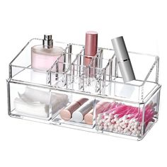 Ikee Design Clear Acrylic Jewelry and Makeup 2-piece Organizer Set (1)