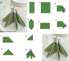 Best DIY Napkin Folding Tutorials for Christmas, Diy Abschnitt, Christmas Tree Napkin Fold, Christmas Napkins, Christmas Love, All Things Christmas, Christmas Crafts, Christmas Lunch, Deco Table Noel, Table Setting Inspiration, Christmas Table Decorations