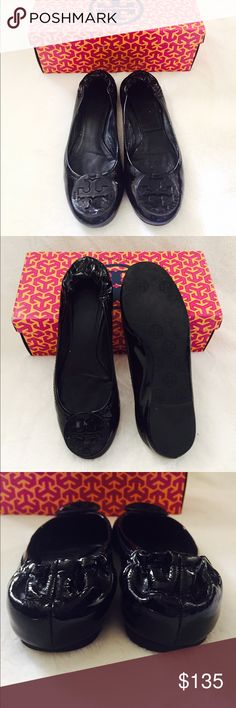 Tory Burch Reva Ballet flats These patent leather reva flats from Tory Burch are very comfortable for everyday use and very chic too. In excellent used condition. No sign of rips or any damage on the leather. Tory Burch Shoes Flats & Loafers
