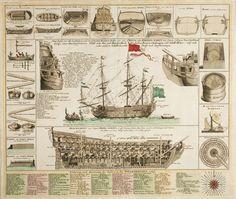 A decorative marine print of early 18th C War-ships