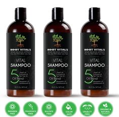 Vital Shampoo for Natural Hair Growth - Three - 16oz Bottles