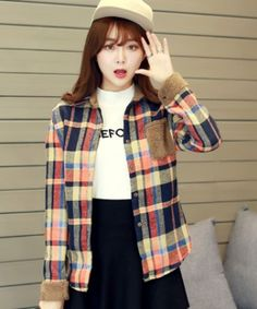 EC04928 Plaid bottoming plus velvet long sleeve autumn shirt