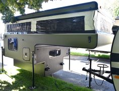 Palomino RV applies spray-on bed liner to the roof, sides, and underbody of a 2016 pop-up truck camper to make a Line-X Body Armor Edition. Pickup Truck Camper Shell, Best Truck Camper, Truck Camper Shells, Pop Up Truck Campers, Rv Truck, Truck Camping, Diy Camper, Camper Trailers, Camper Van