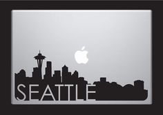 Seattle Skyline Macbook Decal With Writing / by SkylineMania, $9.99