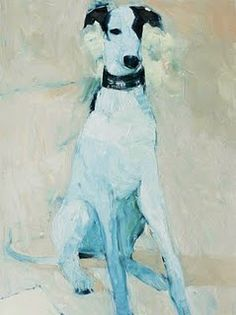 Really pretty. Although if this is a greyhound, it's a little weird, because greyhounds don't sit. Still, I'd love a similar portrait of mine, even though I don't generally get into pet portraiture. Whippet Puppies, Whippets, Greyhound Kunst, Found Art, Dog Paintings, Dog Portraits, Beautiful Dogs, Dog Art, Crazy Cats