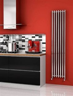Reina Broni vertical tubed stainless steel radiator, with options of and heights. The Broni is able to work on central heating, electric or dual fuel (perfect for summer months). It comes complete with a 25 year guarantee. prices from Upright Radiators, Vertical Radiators, Electric Radiators, Stainless Steel Radiators, Designer Radiator, Central Heating, New Kitchen, Liquor Cabinet, Locker Storage