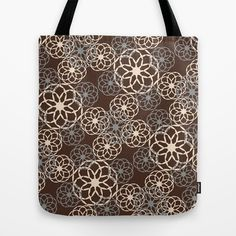 Buy Brown and Silver Floral Pattern by Christina Rollo as a high quality Tote Bag. Worldwide shipping available at Society6.com. Just one of millions of…
