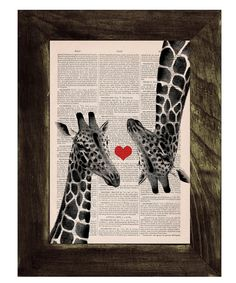 Hey, I found this really awesome Etsy listing at https://www.etsy.com/listing/129562253/vintage-book-print-giraffes-in-love-red