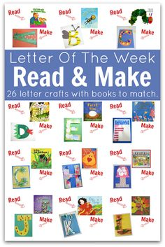 & Make : Letter Of The Week Easy Letter Of The Week Crafts - with matching books for every letter!Easy Letter Of The Week Crafts - with matching books for every letter! Preschool Letters, Preschool Literacy, Learning Letters, Kindergarten Reading, Literacy Activities, Teaching Reading, Fun Learning, Kindergarten Lessons, Early Literacy