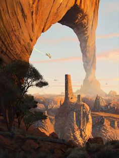 Badlands - Wind carved arch - Iz'Kal Desert City, James Combridge on ArtStation at… Landscape Concept, Fantasy Landscape, Landscape Art, Desert Landscape, High Fantasy, Sci Fi Fantasy, Fantasy World, Arte Sci Fi, Sci Fi Art