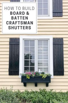 These DIY craftsman shutters are super easy to make and an affordable way to add curb appeal. The board and batten design and black stain are a beautiful touch to any home. Modern Shutters, White Shutters, Vinyl Shutters, Cottage Shutters, Farmhouse Shutters, Rustic Shutters, Diy Exterior, Exterior Design, Exterior Shutters