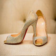 Christian Louboutin Crystal Encrusted Bridal Heels | Photographer: Brian Dorsey Studios | www.theknot.com