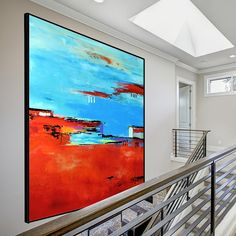 Large Abstract Contemporary Square Painting On Canvas, Modern Orange Red Blue Wall Art Painting, Handmade Original Wall Decor Art