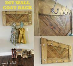 Clever DIY Herringbone Wall Coat Rack -Using Scrap Wood-