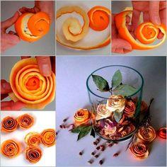 reciclar pieles de naranja para hacer rosas