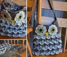 Crochet Purses Ideas Crochet Owl Bag - You will love this Crocodile Owl Stitch Purse Pattern and it's free! It's just one of many fabulous ideas. Check out the Owl Phone Covers too. Crochet Owl Purse, Crochet Backpack, Crochet Purse Patterns, Crochet Tote, Crochet Handbags, Crochet Purses, Crochet Crafts, Crochet Hooks, Free Crochet